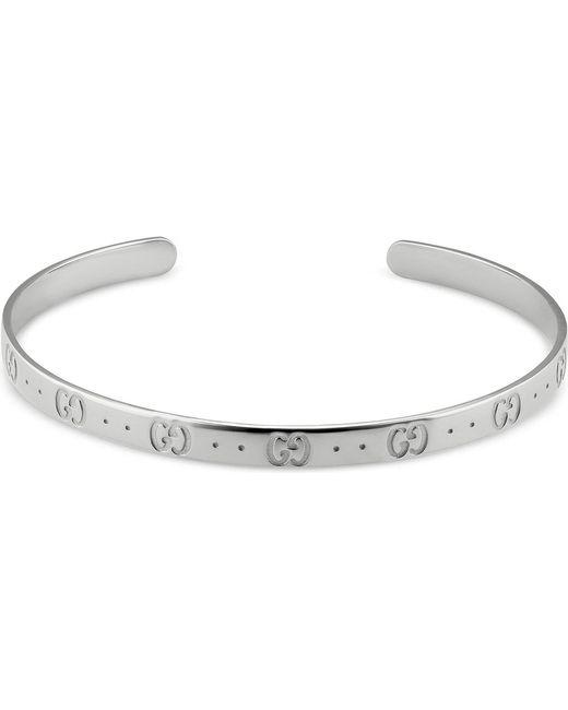 Gucci - Black Icon Sterling Silver Bracelet - Lyst