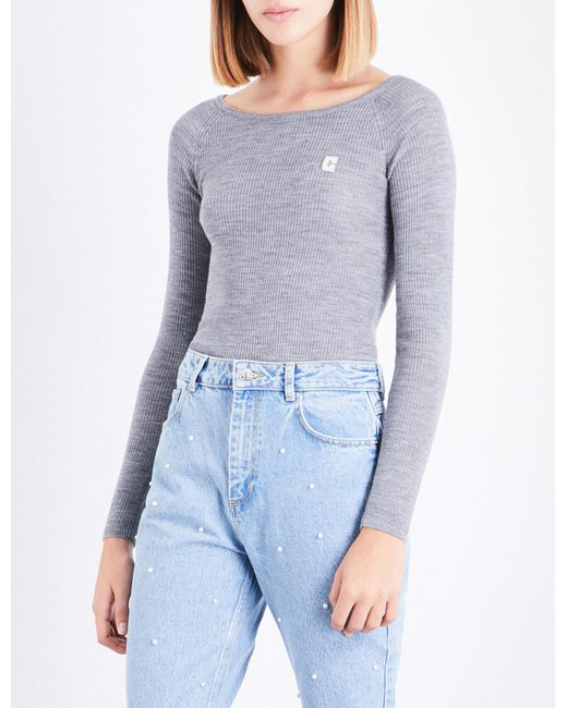 Claudie Pierlot | Blue Embroidered-logo Ribbed Wool Jumper | Lyst