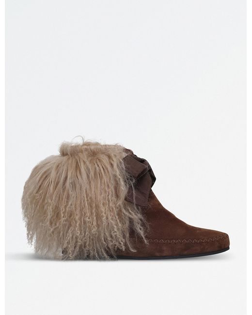 Etro | Brown Curly Shearling Suede Ankle Boots | Lyst