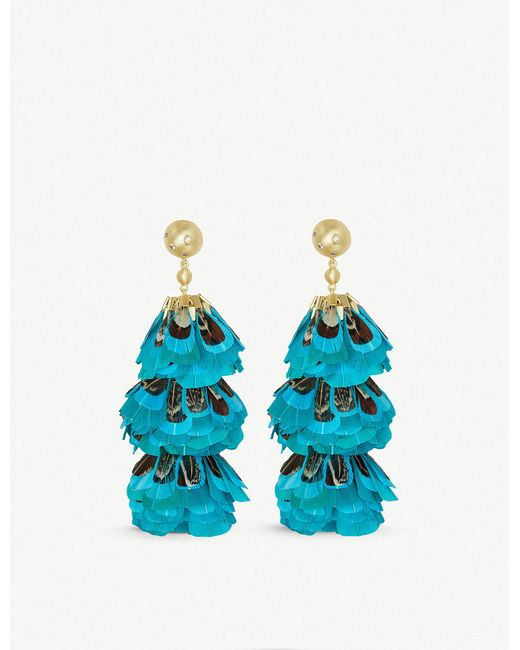Kendra Scott - Metallic Lenni 14ct Gold-plated And Teal Feather Tassel Earrings - Lyst