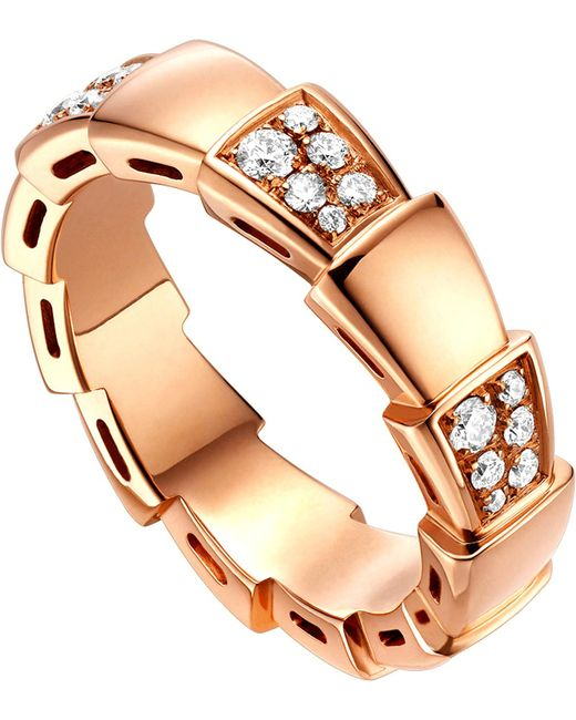 BVLGARI - Metallic Serpenti 18kt Rose-gold And Diamond Ring - Lyst