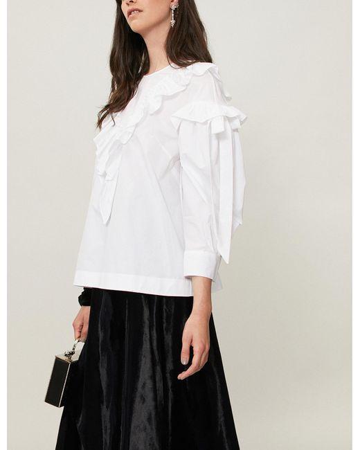 Simone Rocha - White Ruffled-trim Cotton Blouse - Lyst