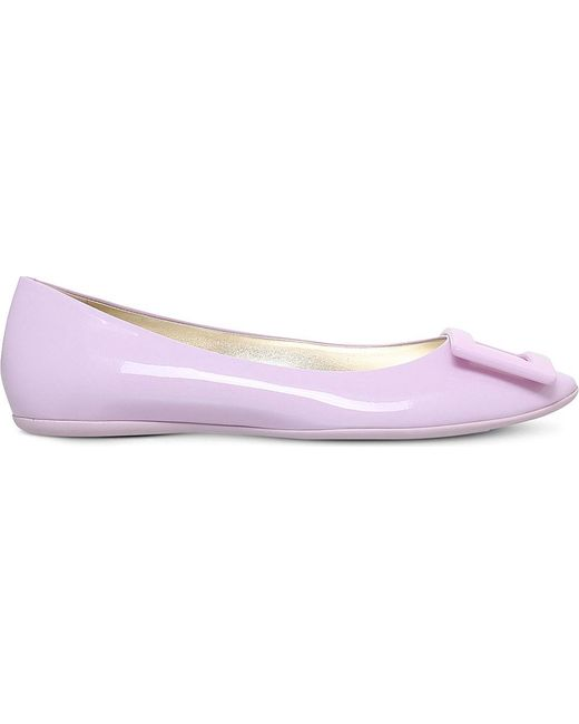 Roger Vivier | Pink Gommette Patent Leather Ballerina Flats | Lyst