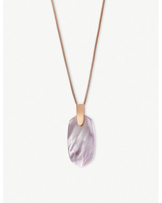 Kendra Scott - Metallic Inez 14ct Rose Gold-plated And Lilac Mother-of-pearl Necklace - Lyst
