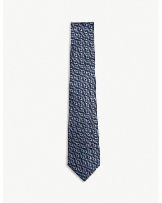 Lanvin - Blue Tonal Jacquard Silk Tie for Men - Lyst