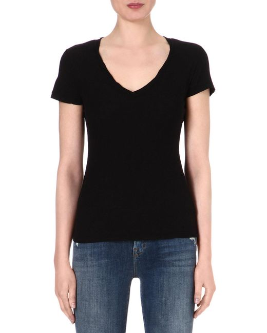 James Perse | Black V-neck Jersey T-shirt | Lyst