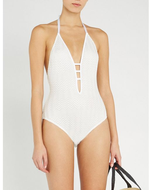 136c3806ee Lyst - Missoni Chevron-pattern Knitted Swimsuit in White