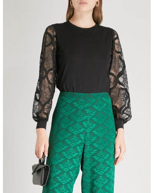 Sandro - Black Floral-lace Sleeves Cotton-jersey Top - Lyst