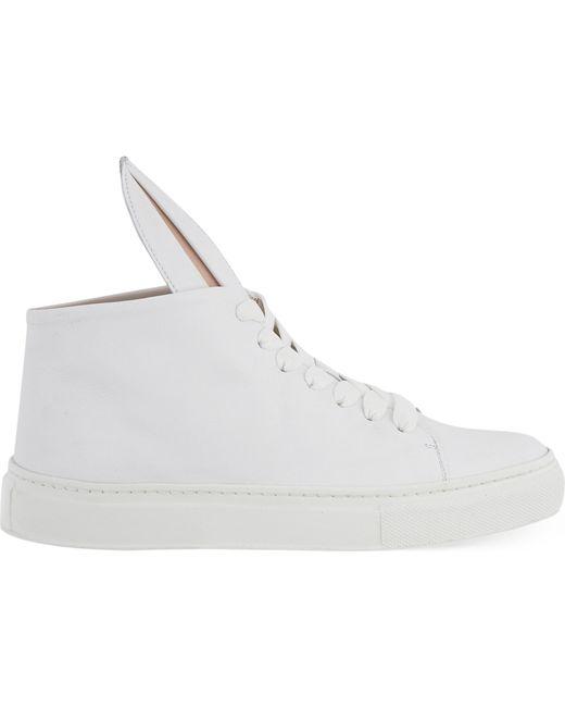Minna Parikka - Orange White Leather Bunny Ears High Top Sneakers - Lyst