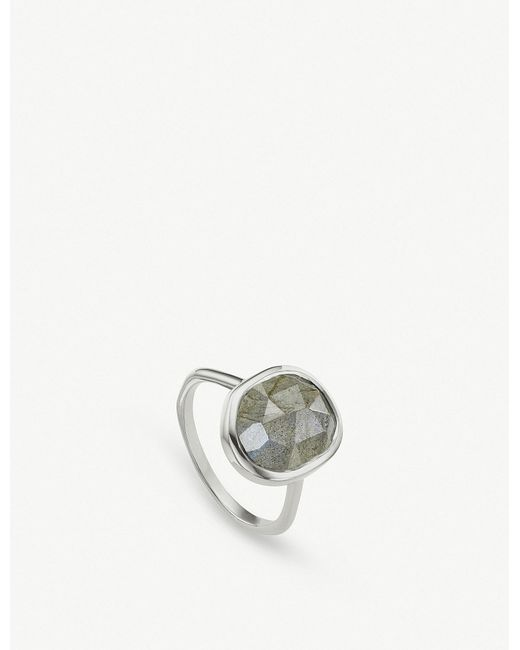 Monica Vinader - Metallic Siren Sterling Silver And Labradorite Medium Stacking Ring - Lyst