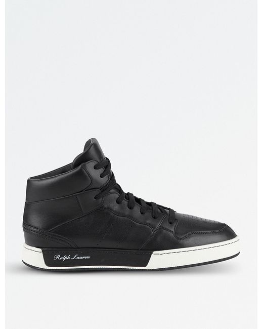 Ralph Lauren Purple Label - Black Giancarlo High-top Leather Trainers for Men - Lyst