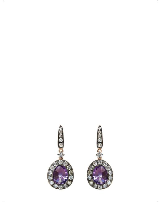 Annoushka | Black 18ct Rose Gold Amethyst And Grey Diamond Earrings | Lyst