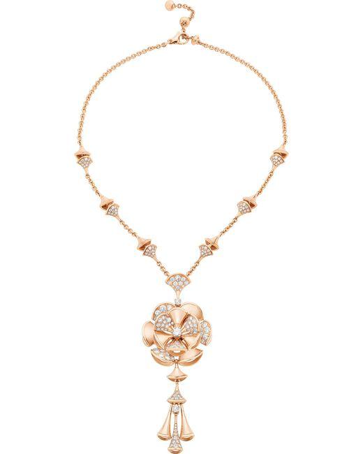 BVLGARI - Metallic Divas' Dream 18kt Pink-gold And Diamond Necklace - Lyst
