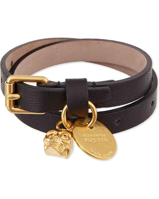 Alexander McQueen | Black Double Wrap Bracelet | Lyst