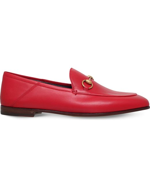 8d5e9c44fcea Lyst - Gucci Brixton Horsebit Loafer Leather Hibiscus Red in Red ...