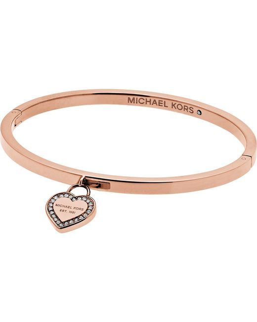 Michael Kors - Metallic Heritage Rose Gold-plated Stainless Steel Bangle - Lyst
