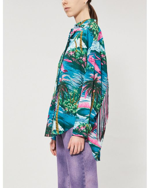 80d739ac Lyst - MSGM Hawaii Crepe Shirt in Blue