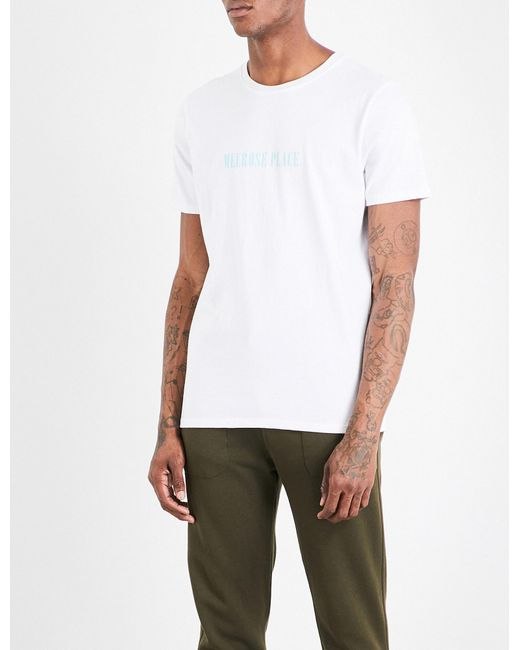 A p c melrose place cotton jersey t shirt in white for for Apc white t shirt
