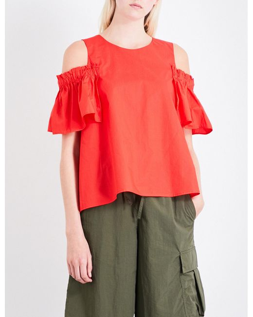 Izzue | Red Ruffled Cold-shoulder Cotton-poplin Top | Lyst
