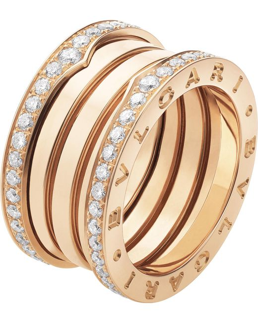 BVLGARI - B.zero1 Four-band 18kt Pink-gold And Diamond Ring - Lyst