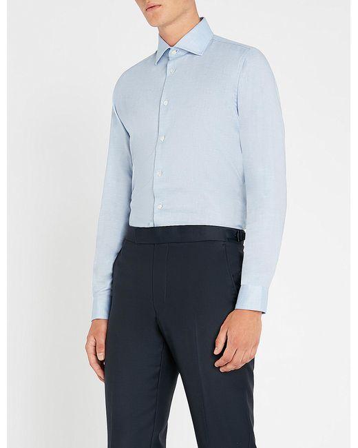 Richard James - Blue Contemporary-fit Cotton And Linen-blend Oxford Shirt for Men - Lyst