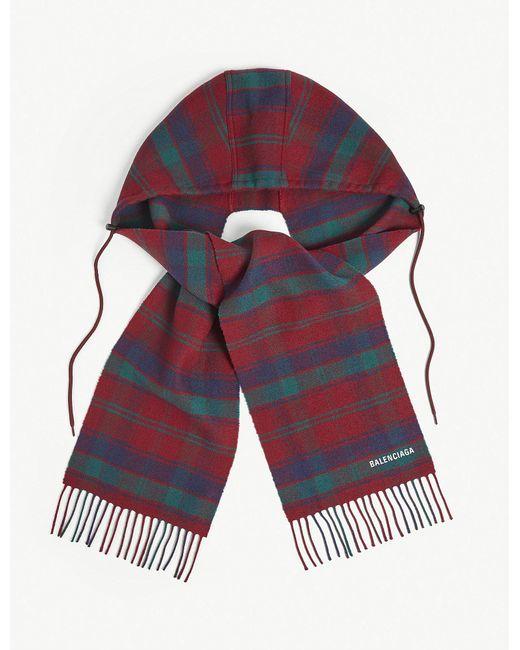 Balenciaga - Multicolor Tartan Wool Hooded Scarf - Lyst