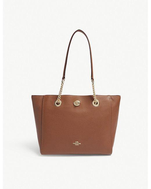1ef7266dd0 ... hot coach brown turnlock leather tote bag lyst 5127f 7c478