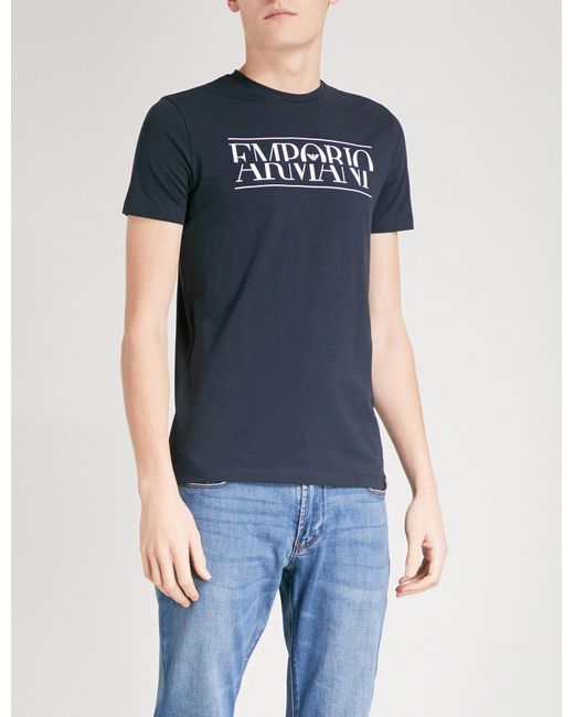 Emporio Armani | Blue Split Logo-print Cotton-jersey T-shirt for Men | Lyst