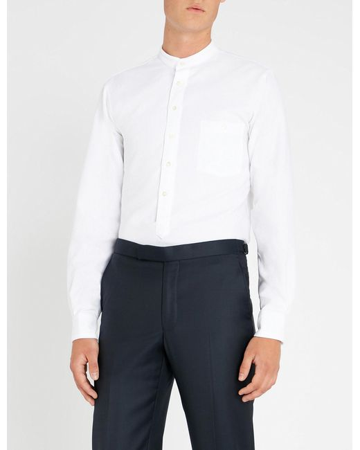 Richard James - White Marcella Mandarin-collar Classic-fit Cotton Shirt for Men - Lyst