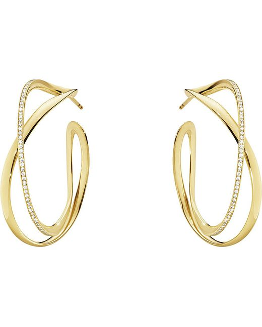 Georg Jensen | Infinity 18ct Yellow Gold And Diamond Hoop Earrings | Lyst
