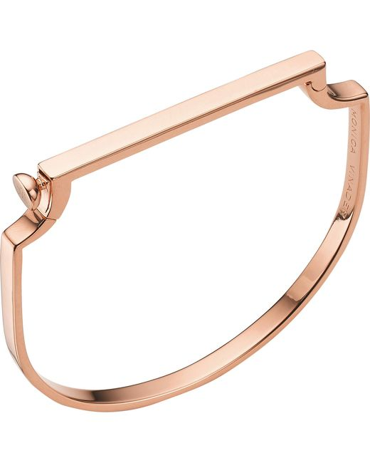 Monica Vinader - Metallic Signature 18ct Rose Gold-plated Bangle - Lyst