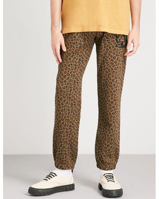 BBCICECREAM - Brown Leopard-print Cotton-jersey Jogging Bottoms for Men - Lyst