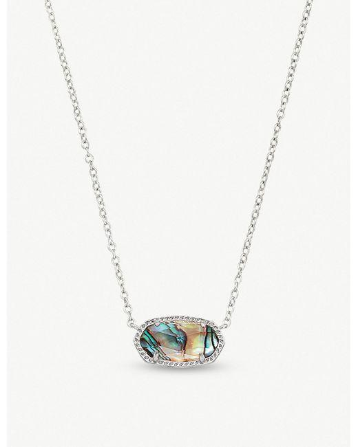 Kendra Scott - Metallic Elisa Rhodium-plated And Abalone Shell Pendant Necklace - Lyst