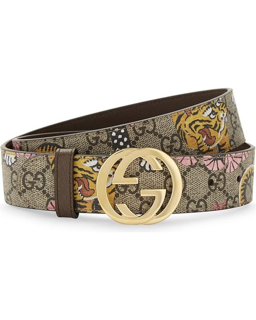 Gucci Bengal Tiger Print Leather Belt in Natural