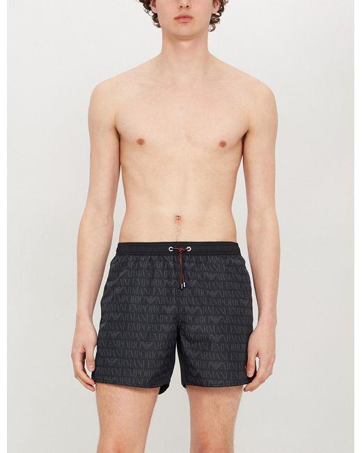 415a15a547 Lyst - Emporio Armani Logo-print Swim Shorts in Black for Men