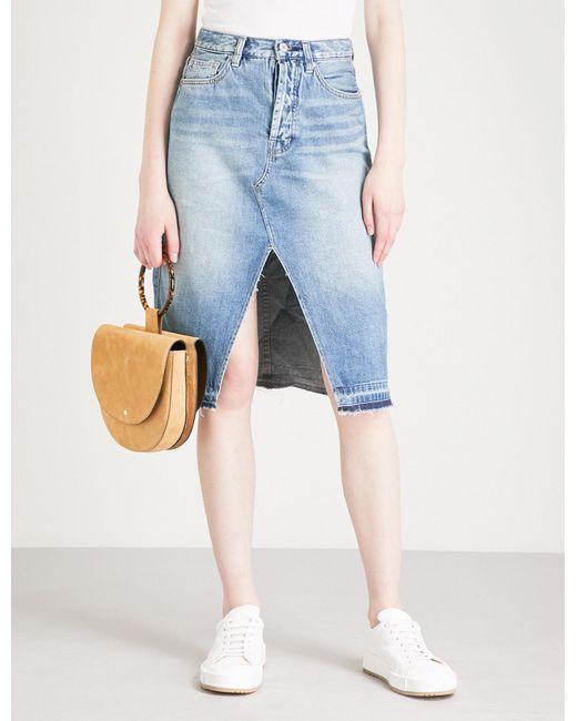 Free People - Blue Raw Hem Midi Length Denim Skirt - Lyst