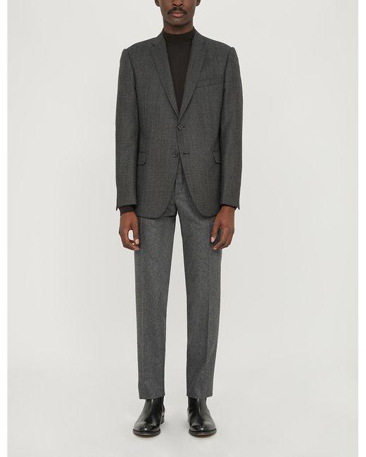 Emporio Armani Gray Herringbone Wool Blazer for men