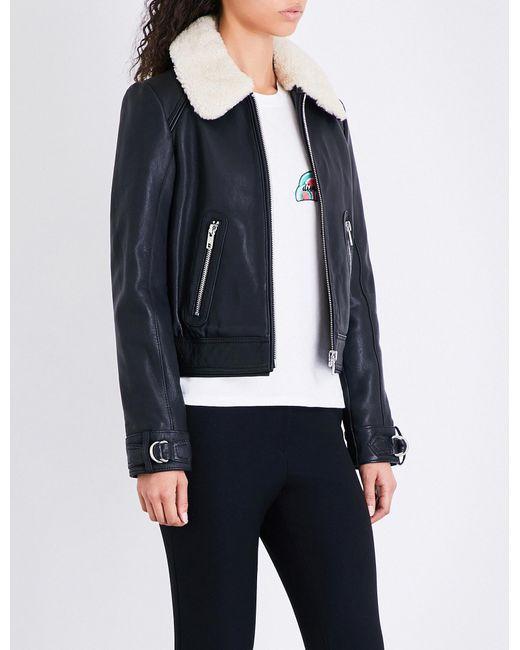 Maje | Black Bakard Shearling-collar Leather Jacket | Lyst