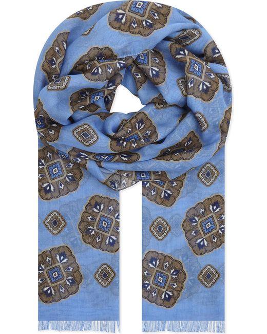 Eton of Sweden - Blue Medallion Print Cotton-modal Scarf - Lyst