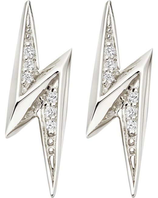 Astley Clarke - Black Lightning Bolt Sterling Silver And White Sapphire Stud Earrings - Lyst