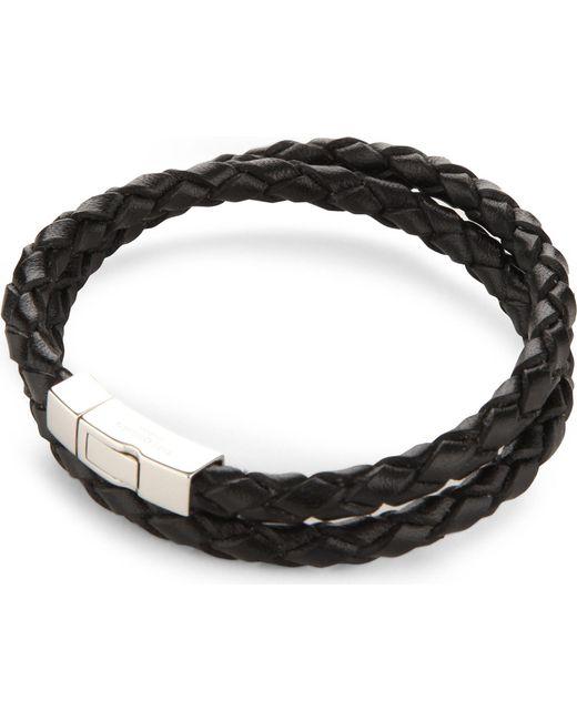 Tateossian - Black Double-wrap Scoubidou Leather And Sterling Silver Bracelet for Men - Lyst