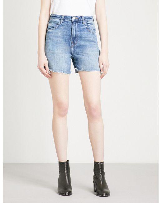 J Brand | Blue Joan Frayed-hem Denim Shorts | Lyst