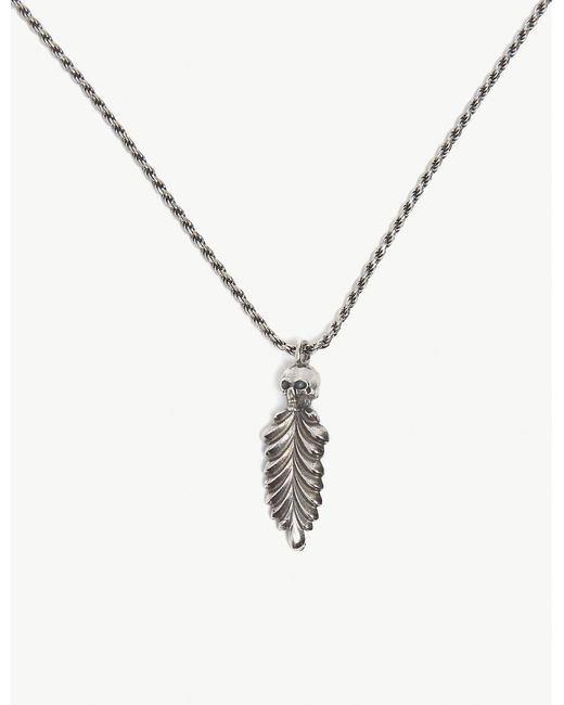 Emanuele Bicocchi - Metallic Sterling Silver Feather Pendant Necklace for Men - Lyst