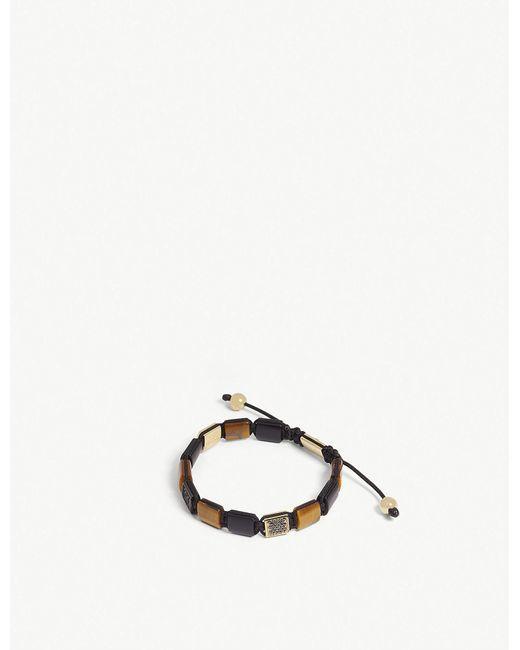 Nialaya - Brown Tiger Eye And Matte Onyx Flat Bead Bracelet for Men - Lyst