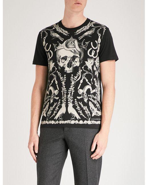 Alexander McQueen - Black Skull-print Cotton-jersey T-shirt for Men - Lyst