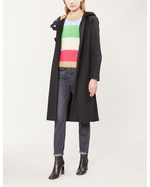 Maje - Black Faux-fur Lined Wool-blend Coat - Lyst