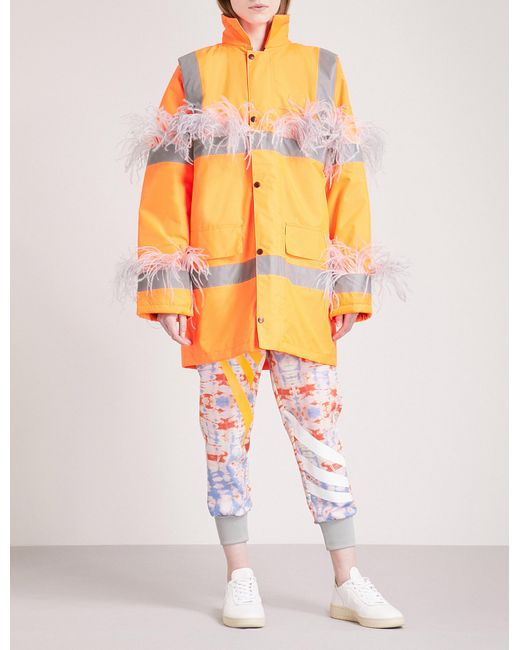 Fyodor Golan - Orange Marabou Feather-trim Padded Woven Parka Coat - Lyst