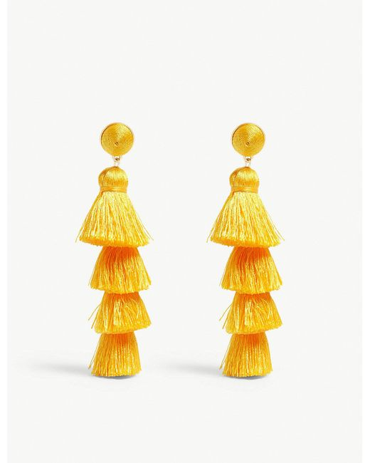 BaubleBar - Yellow Gabriela Tassel Stud Earrings - Lyst