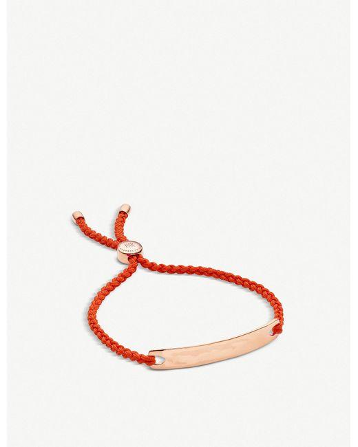 Monica Vinader - Red Havana 18ct Rose Gold-plated Friendship Bracelet - Lyst