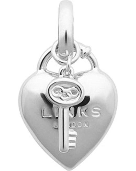 Links of London | Metallic Heart Padlock Sterling Silver Charm - For Women | Lyst